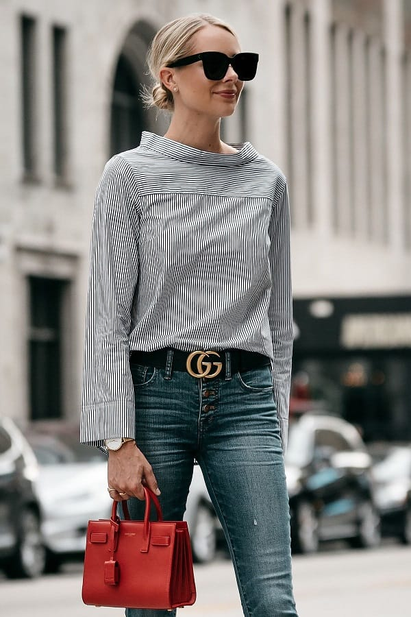 Aristocratic style when combined with Gucci belts